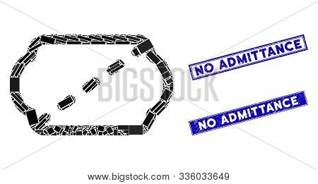 Mosaic Cinema Ticket Icon And Rectangle No Admittance Seal Stamps. Flat Vector Cinema Ticket Mosaic