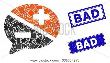 Mosaic Arguments Pictogram And Rectangle Bad Seal Stamps. Flat Vector Arguments Mosaic Pictogram Of