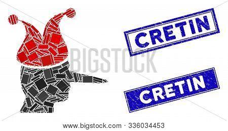 Mosaic Joker Pictogram And Rectangular Cretin Stamps. Flat Vector Joker Mosaic Pictogram Of Scattere