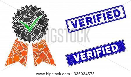 Mosaic Approvement Seal Icon And Rectangular Verified Stamps. Flat Vector Approvement Seal Mosaic Ic