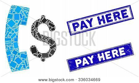 Mosaic Pay Phone Call Pictogram And Rectangle Pay Here Watermarks. Flat Vector Pay Phone Call Mosaic