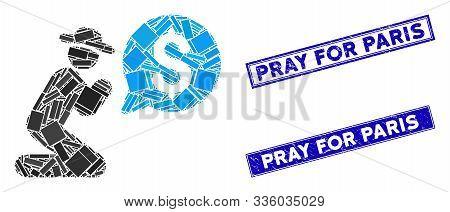 Mosaic Pray For Money Icon And Rectangular Pray For Paris Seals. Flat Vector Pray For Money Mosaic I