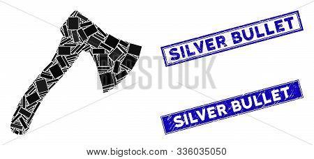 Mosaic Hatchet Pictogram And Rectangular Silver Bullet Stamps. Flat Vector Hatchet Mosaic Pictogram