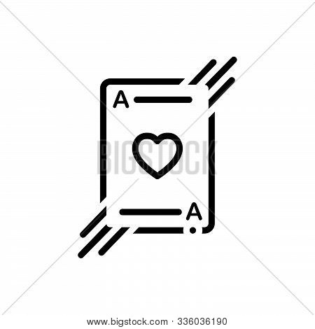 Black Line Icon For  Playing-card Card Cards Casino Playing Poker-cards