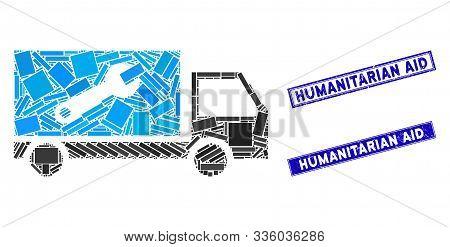 Mosaic Service Car Pictogram And Rectangle Humanitarian Aid Stamps. Flat Vector Service Car Mosaic I