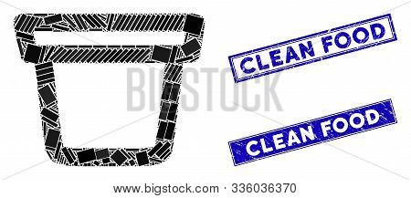 Mosaic Pail Pictogram And Rectangle Clean Food Rubber Prints. Flat Vector Pail Mosaic Icon Of Random
