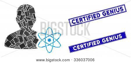 Mosaic Physicist Science Icon And Rectangular Certified Genius Watermarks. Flat Vector Physicist Sci