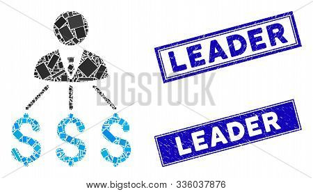 Mosaic Businessman Expenses Pictogram And Rectangle Leader Seal Stamps. Flat Vector Businessman Expe