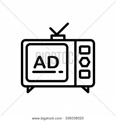 Black Line Icon For  Television-ads Television Ads Advertisement Broadcast Technology
