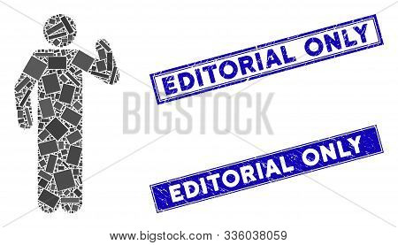 Mosaic Opinion Pose Icon And Rectangular Editorial Only Seal Stamps. Flat Vector Opinion Pose Mosaic