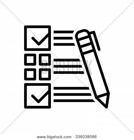 Black Line Icon For  Customer-survey Customer Survey  Customer-satisfaction Evaluate Feedback Checkl