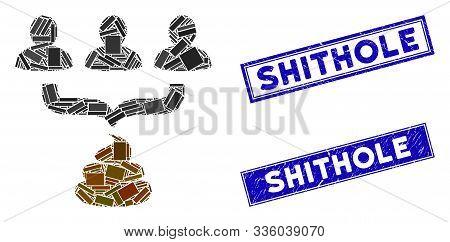 Mosaic Human Shit Aggregator Funnel Icon And Rectangle Shithole Seals. Flat Vector Human Shit Aggreg