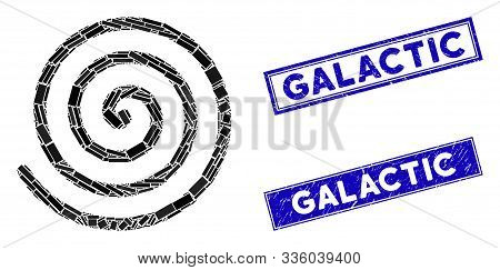Mosaic Spiral Pictogram And Rectangular Galactic Rubber Prints. Flat Vector Spiral Mosaic Pictogram