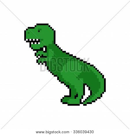 Tyrannosaurus Pixel Art. Dino 8 Bit. Dinosaur Pixelate. Vector Illustration