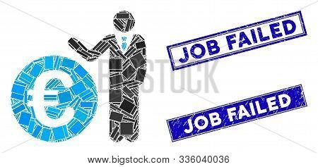 Mosaic Euro Economist Pictogram And Rectangle Job Failed Rubber Prints. Flat Vector Euro Economist M