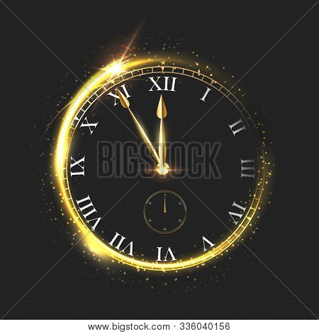 Golden Shiny Clock Vector Illustration. Luxury Sparkling Round Dial Isolated On Black Background. Ar