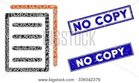 Mosaic Copy Document Icon And Rectangle No Copy Seal Stamps. Flat Vector Copy Document Mosaic Icon O