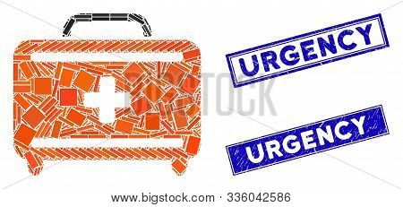 Mosaic First Aid Toolkit Icon And Rectangle Urgency Watermarks. Flat Vector First Aid Toolkit Mosaic