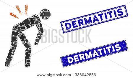 Mosaic Backache Icon And Rectangle Dermatitis Watermarks. Flat Vector Backache Mosaic Icon Of Random