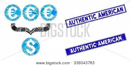Mosaic Euro Dollar Conversion Aggregator Icon And Rectangle Authentic American Stamps. Flat Vector E