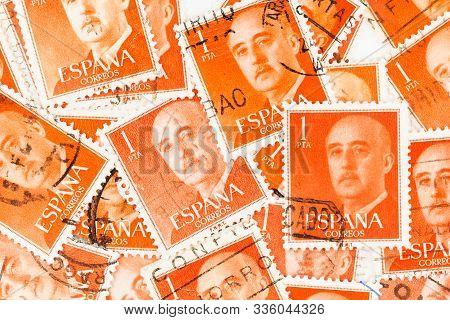 Seattle Washington - November 22, 2019: Orange Spanish General Franco Postage Stamp  Scott # 825  Is