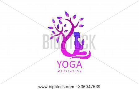 Yoga Logo Design Stock. Human Meditation In Lotus Flower Vector Illustration