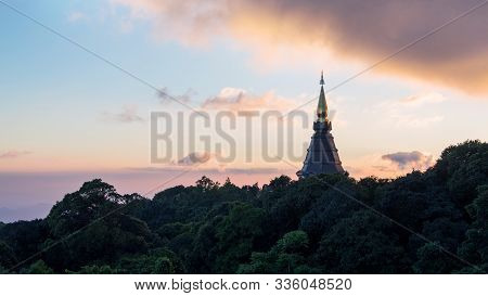 The Royal Stupa Dedicated To His Majesty The King Of Thailand At Sunset In Doi Inthanon National Par