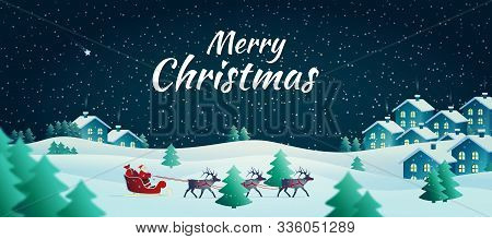 Vector Illustration On The Theme Of Christmas And New Year. Christmas Banner. Night Winter Landscape