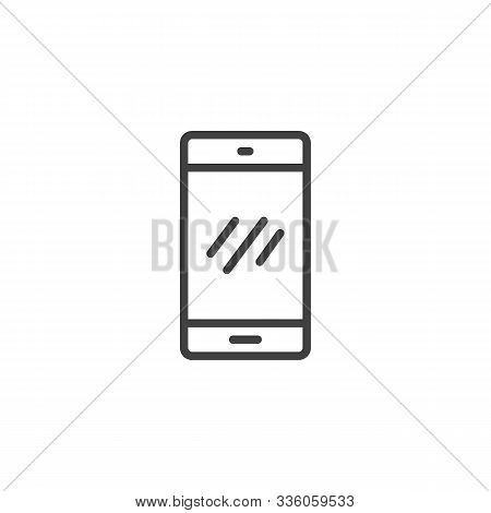 Mobile Phone Line Icon. Linear Style Sign For Mobile Concept And Web Design. Smartphone Outline Vect