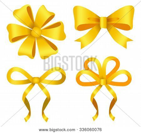 Set Of Yellow Ribbon Bows Isolated Icons. Golden Decoration For Gift Cards Design Or Presents Decor.