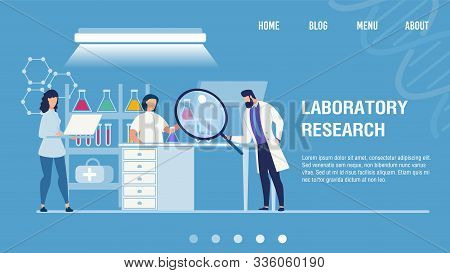Medical Laboratory Research Center. Chemical Researchers In White Coat And Lab Equipment At Work. Dr