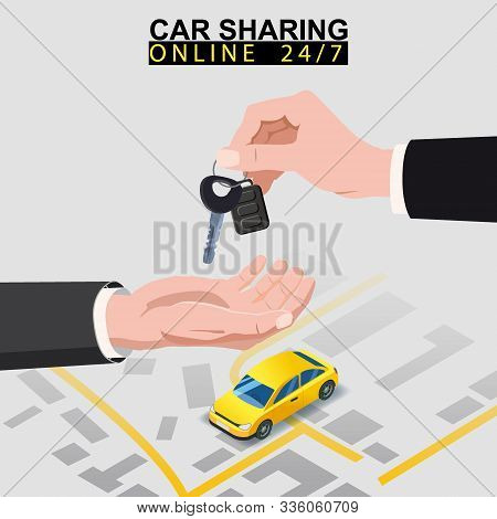Car Sharing Isometric. Hand Transfers Car Keys To Another Hand With City Map Route And Points Locati