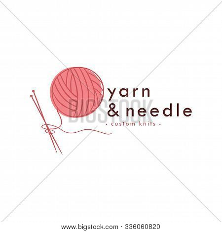 Knitting Vintage Logo, Needle, Yarn, Fashion Retro Simple Logo, Sign, Icon Template Vector Design