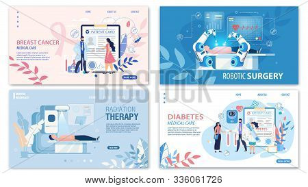 Online Medical Services Flat Landing Page Set. Breast Cancer Medicare, Robotic Surgery, Radiation Th