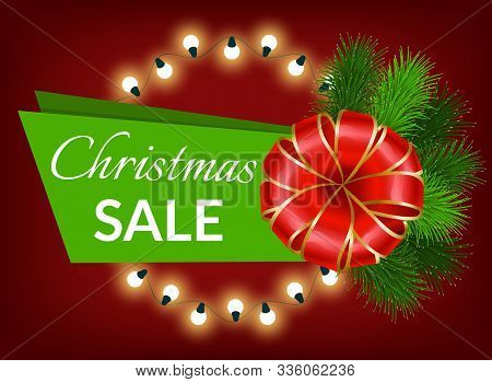 Xmas Sale Promotional Banner For Winter Holidays Shopping. Garlands And Pine Tree Branches With Ribb