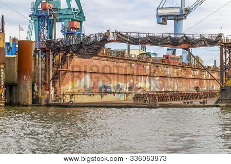Dockyard Scenery Seen At The Port Of Hamburg In Germany