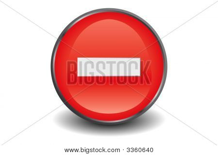 No Entry Button Red