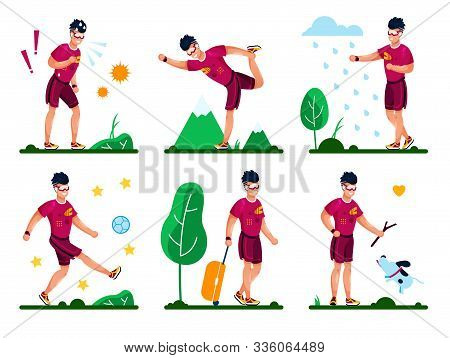 Man Happy And Healthy Lifestyle, Summer Outdoor Activities Trendy Flat Vector Set. Young Guy Playing