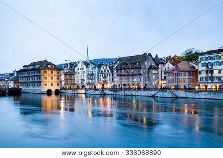 scenic view of historic Zurich city center, Canton of Zurich, Switzerland