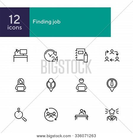 Finding Job Line Icon Set. Best Worker, Employee, Workplace. Human Resource Concept. Can Be Used For