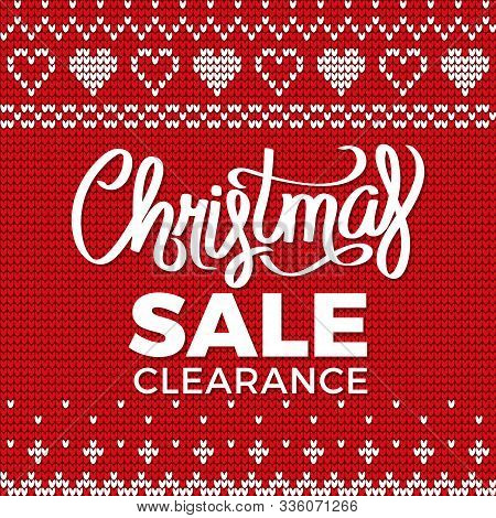 Business Promotion Postcard Christmas Clearance Sale. Poster Decorated By Embroidery Of Snowflake An