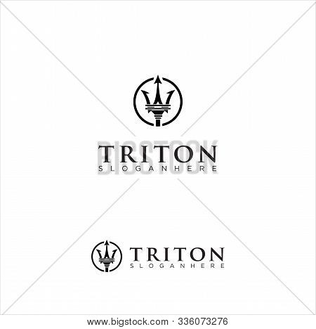 Triton Logo Template Illustration Vintage Design. Vector Eps 10.