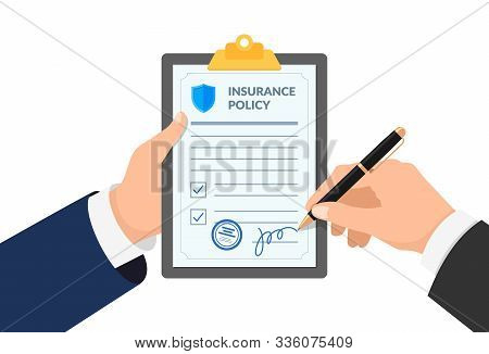 Insurance Agent Hand Holding Clipboard With Policy Form And Businessman Signs Agreement Protection D