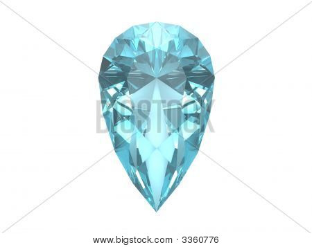Blue Topaz Trillon Isolated On White Background.