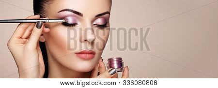 Makeup Artist Applies Eye Shadow. Beautiful Woman Face. Perfect Makeup. Makeup Detail. Beauty Girl W
