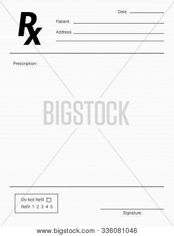 Rx Pad Template. Medical Regular Prescription Form.