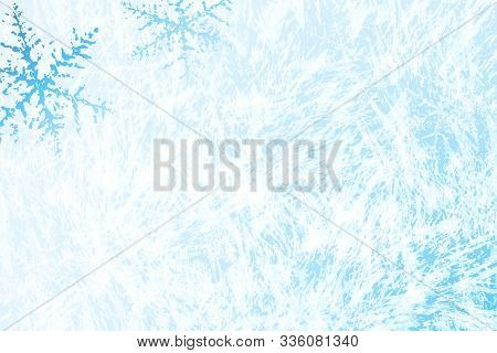 Frost Pattern Background. Frozen Texture In Winter (vector Ice Crystals) With Snowflakes. Star Spark