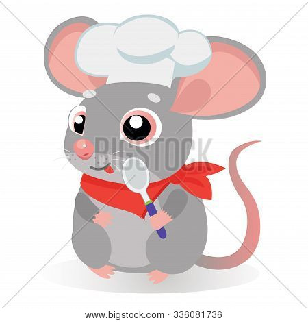 Funny Cartoon Rat Or Mouse Cook With Spoon In A Cook Hat On A White Background. Kids Vector Cartoon