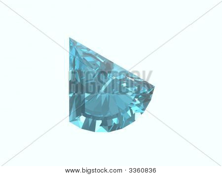 Blue Topaz Trillon Isolated On White Background