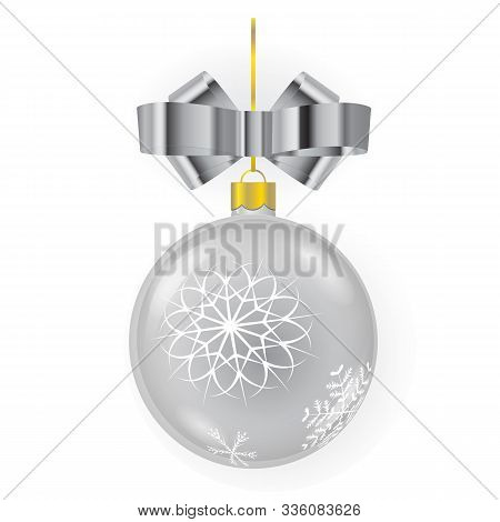 Vector Silver New Year Tree Ball With Mettalic Ribbon Bow And Ornaments Isolated On White Background